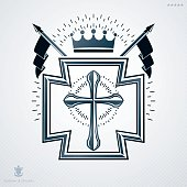 Heraldic sign made using vector vintage elements, religious cross and royal crown.