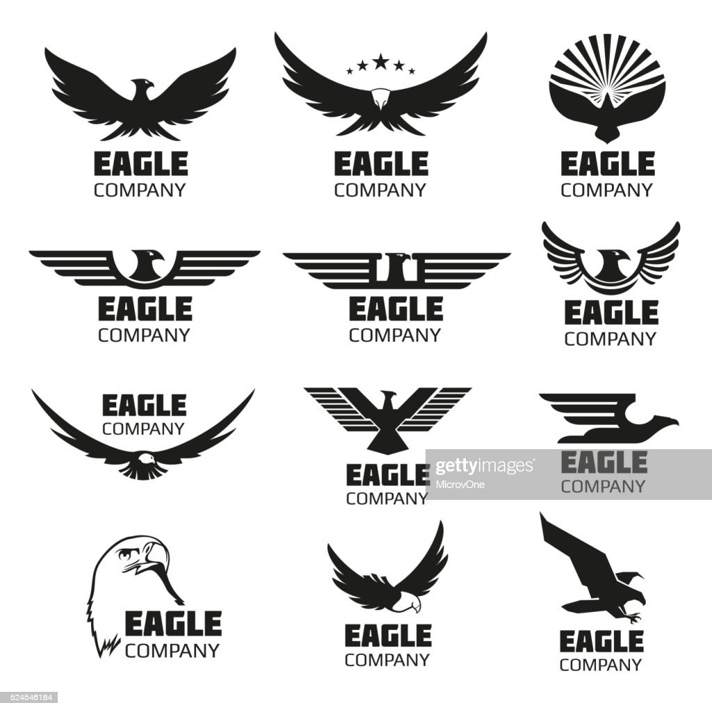 Heraldic symbols with eagle silhouettes. Vector emblems and logos set