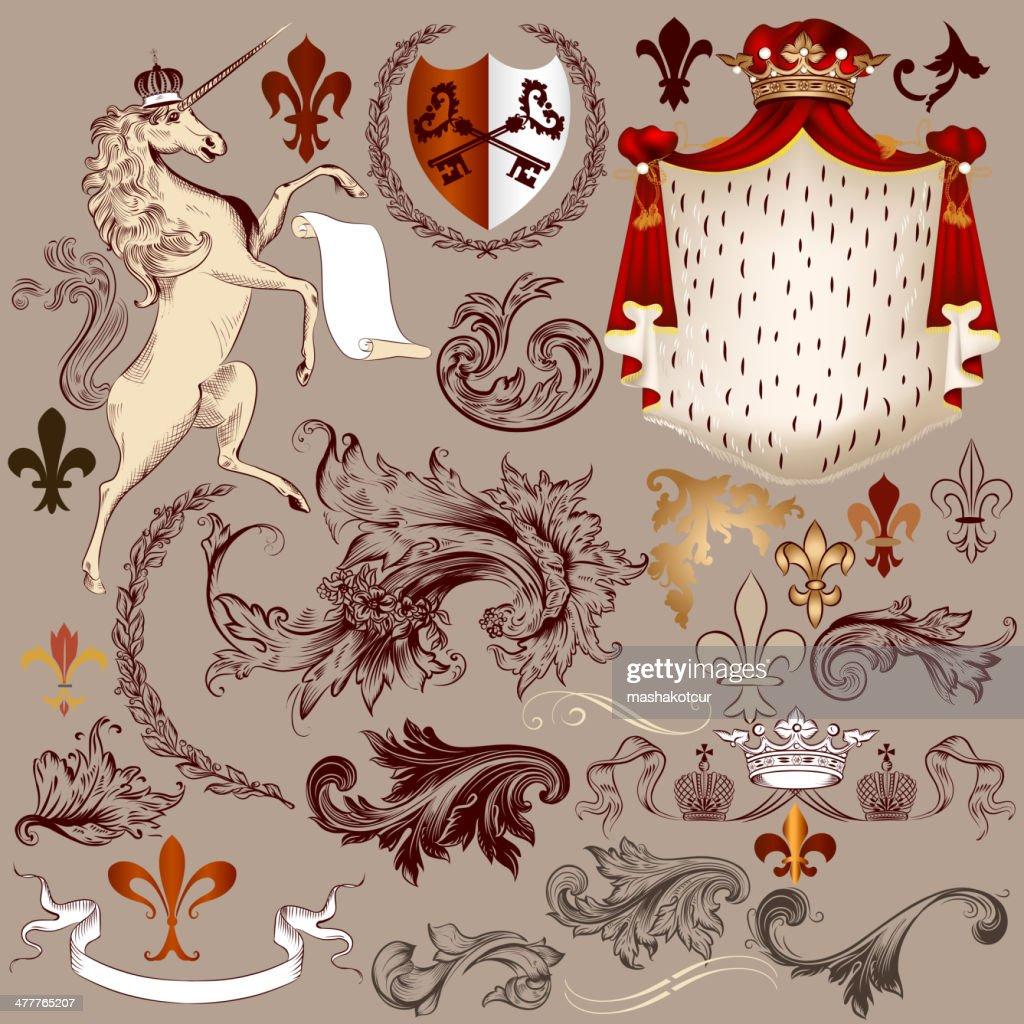 Heraldic vector set of detailed vintage elements