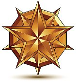 Heraldic vector template with complicated golden star, 3d
