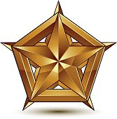 Heraldic vector template with five-pointed golden star, 3d