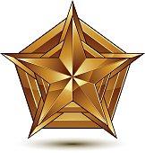 Heraldic vector template with golden star, 3d