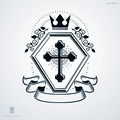 Heraldic vintage vector design element. Retro style label created using religious cross and royal crown