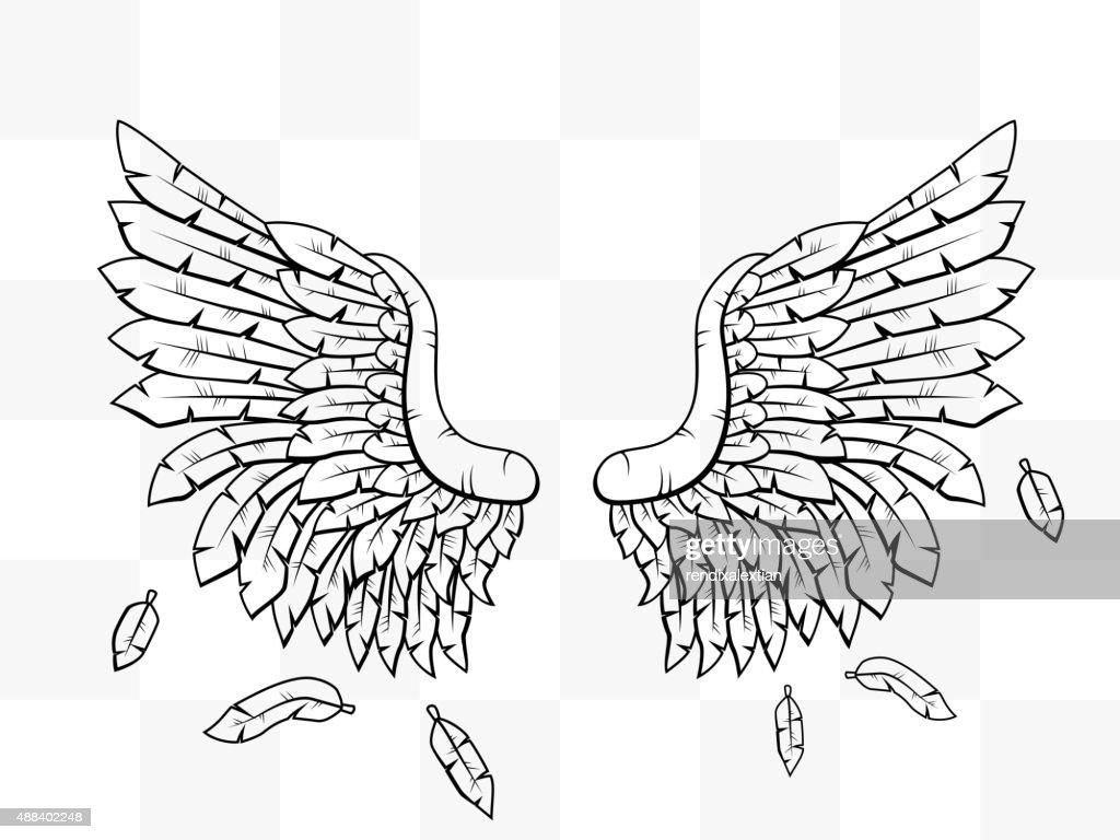 Heraldic wings cartoon transparent tattoo icon