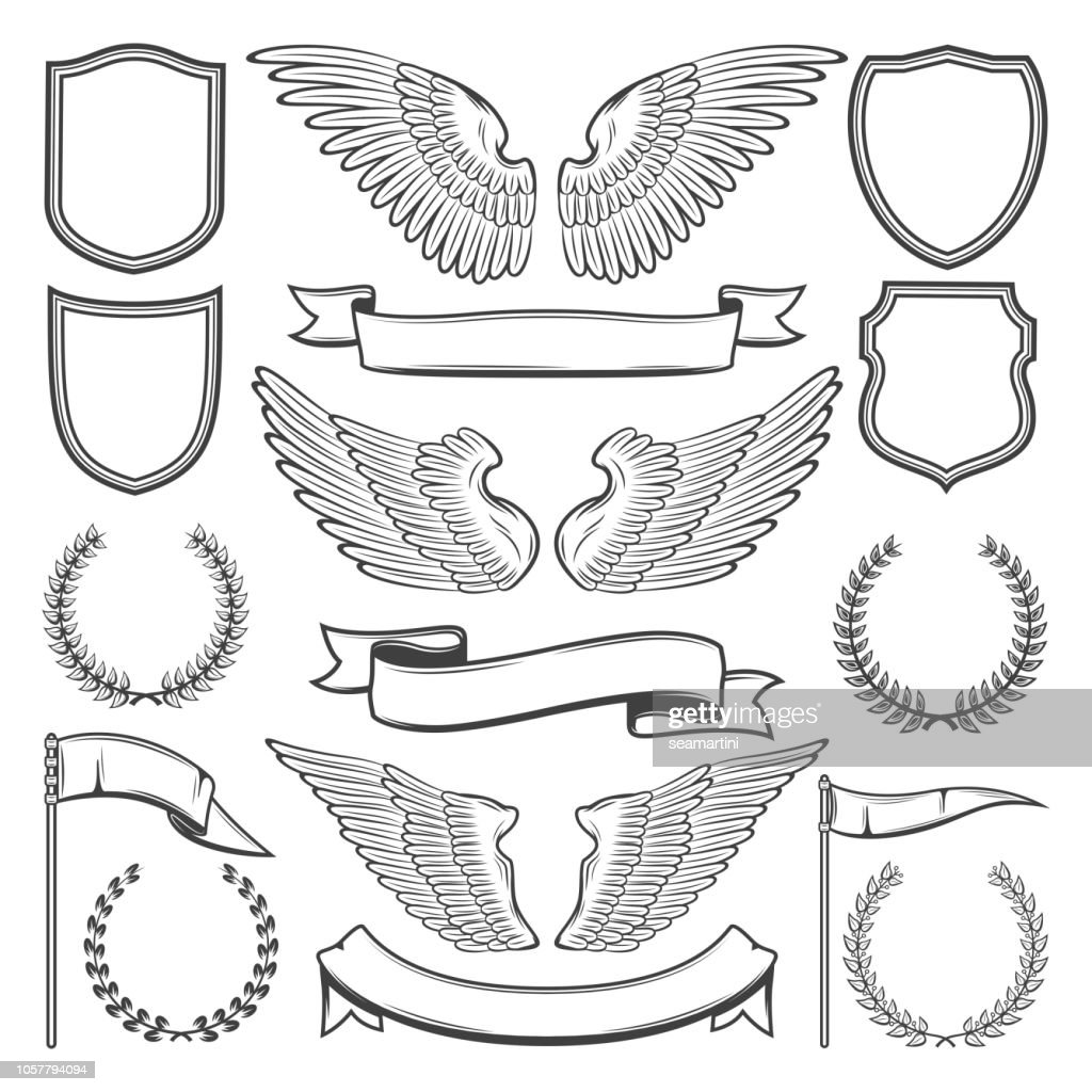Heraldic wings, shields and ribbons, vector