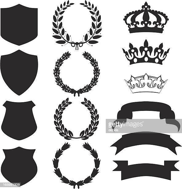 heraldry and shields - diadem stock illustrations