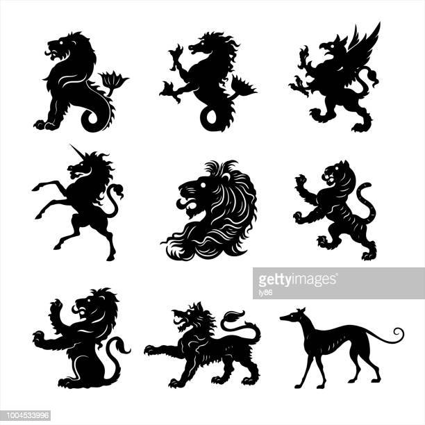 heraldry animal - unicorn stock illustrations