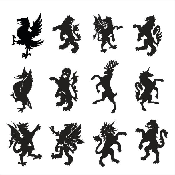 heraldry animal - unicorn stock illustrations