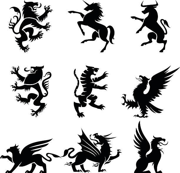 heraldry animals - unicorn stock illustrations