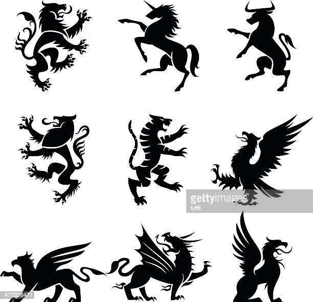 heraldry animals - unicorn stock illustrations