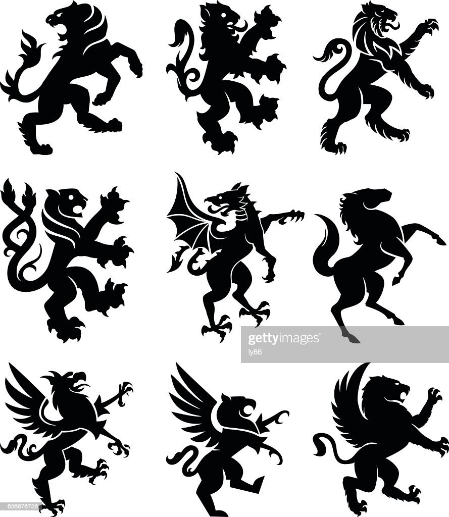 Heraldry animals : stock illustration