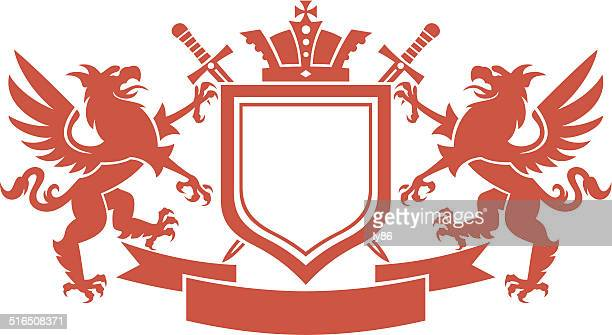heraldry crest, coat of arms - griffin stock illustrations, clip art, cartoons, & icons