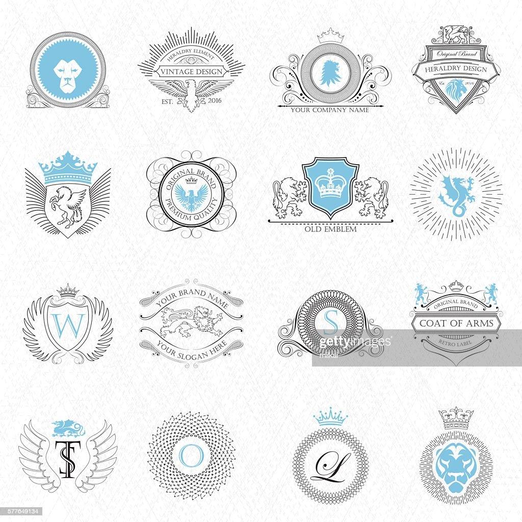 Heraldry design elements outline