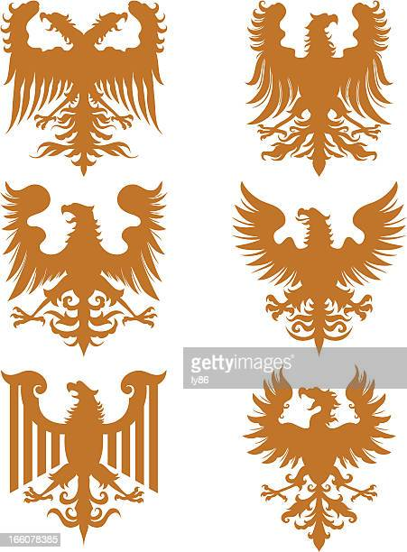 heraldry eagles - griffin stock illustrations, clip art, cartoons, & icons
