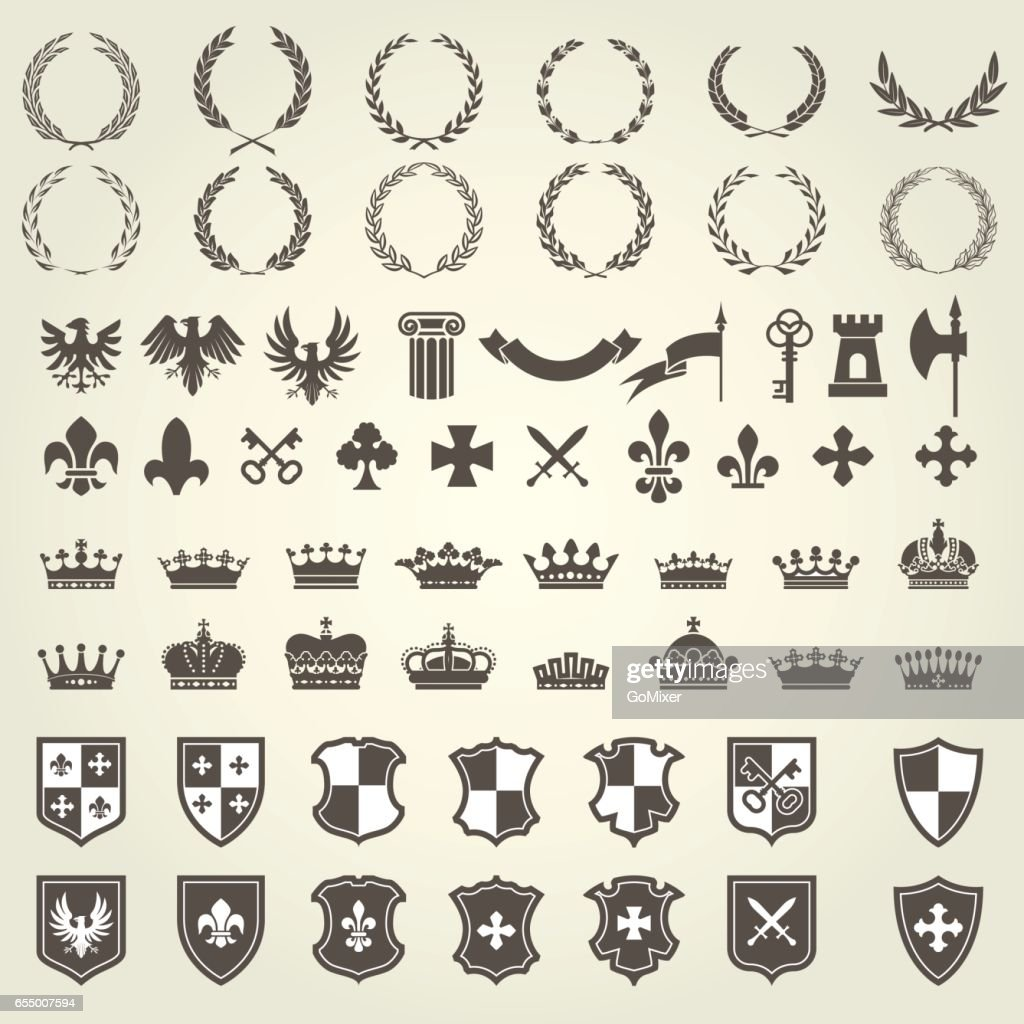 Heraldry kit of knight blazons and coat of arms elements - medieval emblems
