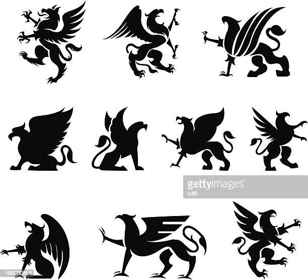 heraldy griffin - griffin stock illustrations, clip art, cartoons, & icons