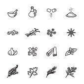 herb icons set. Line Style stock vector.