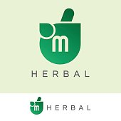 herbal initial Letter M icon design