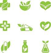 Herbal medicine icons set