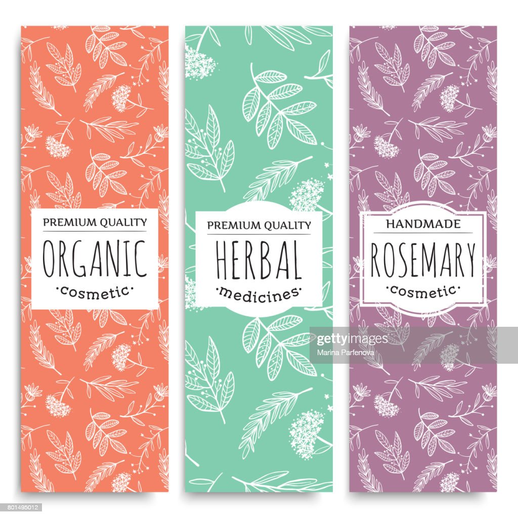 herbal vertical banners with organic herbal rosemary valuable for human health