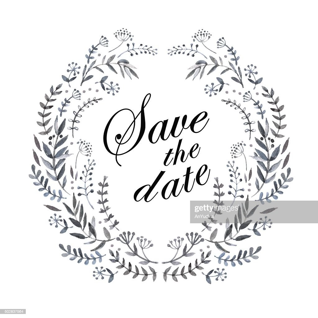 Herbal vintage wreath Save the date