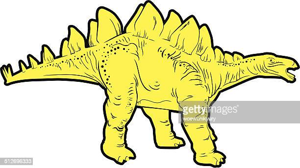 herbivorous dinosaur (stegosaurus) - thyreophora stock illustrations, clip art, cartoons, & icons