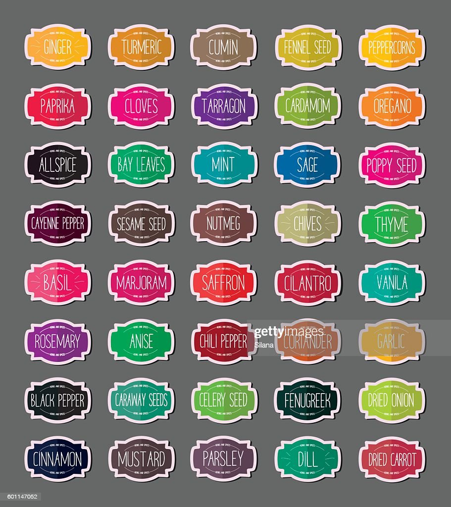 Herbs and spices stickers