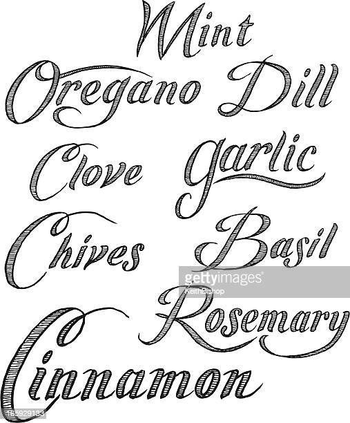 herbs text - mint, oregano, garlic, basil, etc. - basil stock illustrations, clip art, cartoons, & icons