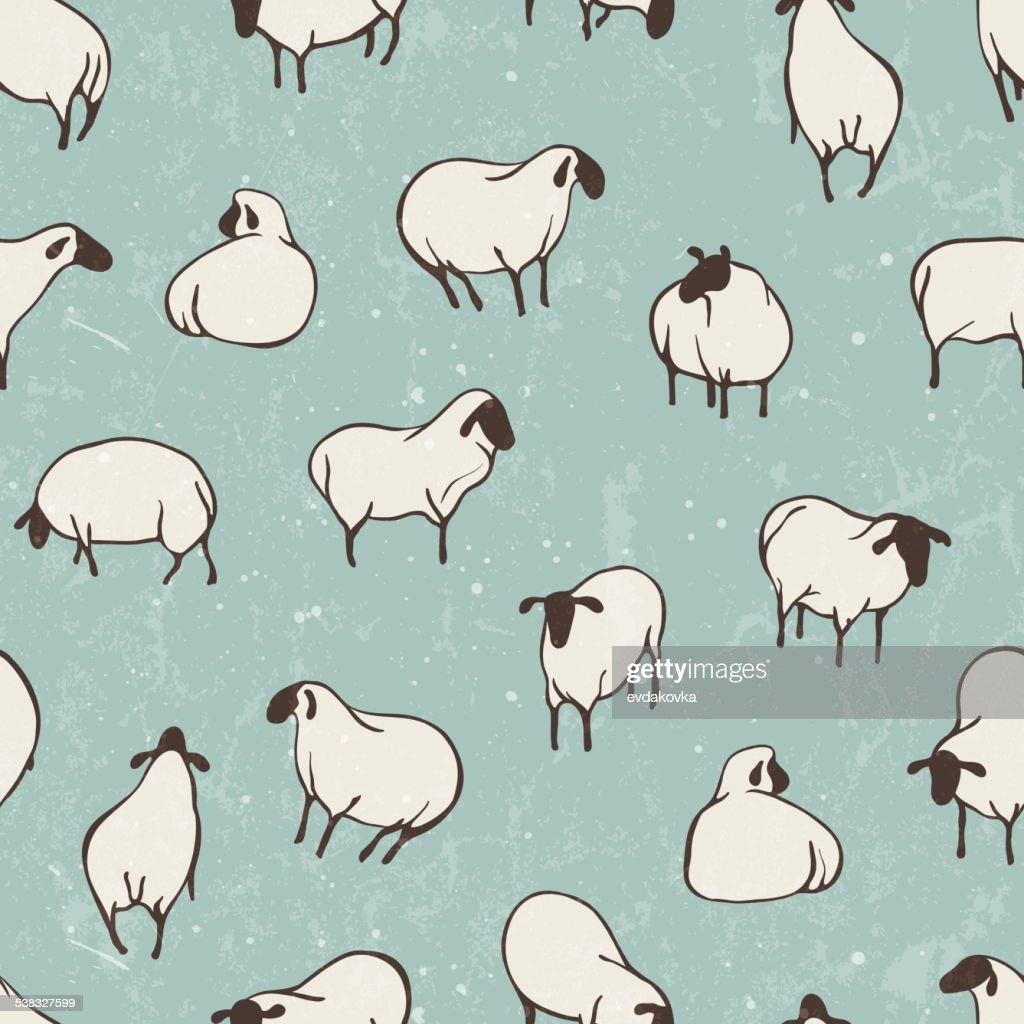 Herd of sheep. Seamless vector pattern