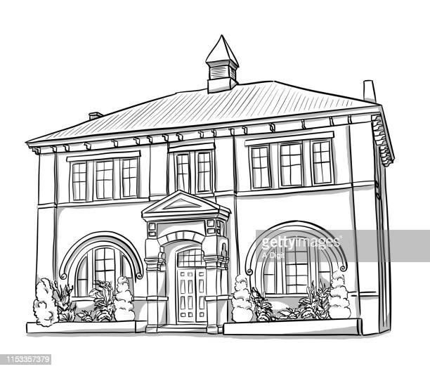 heritage school building - tradition stock illustrations