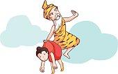 hermit take follower soar in the sky vector