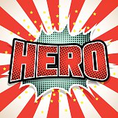 Hero Comic Speech  Bubble. Vector illustration