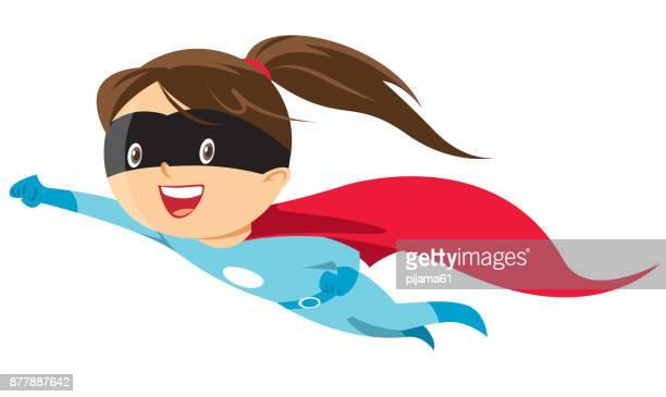 illustrations, cliparts, dessins animés et icônes de fille de héros - petites filles