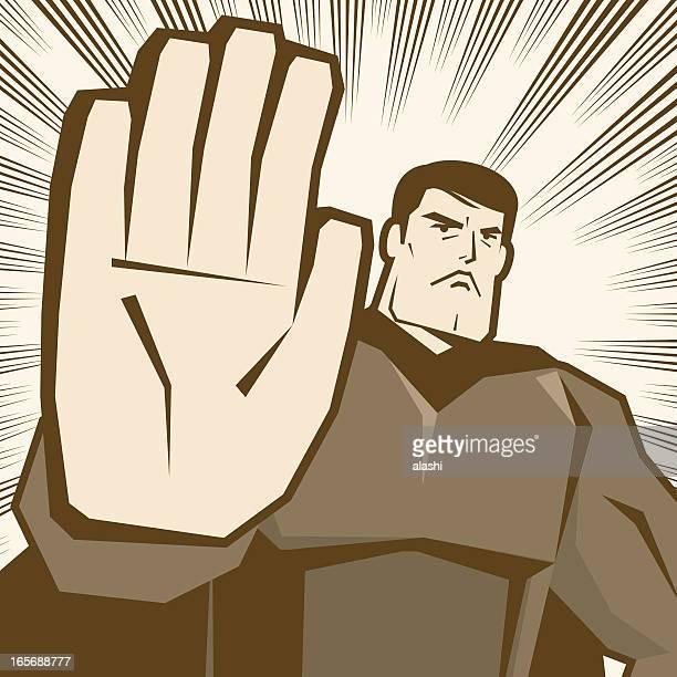 hero making stop gesture! - refusing stock illustrations, clip art, cartoons, & icons