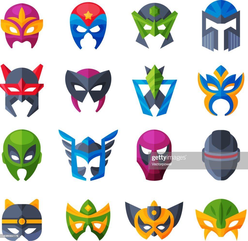 Hero mask vector superhero face masque and masking cartoon character illustration set of powerful masked symbol isolated on white background