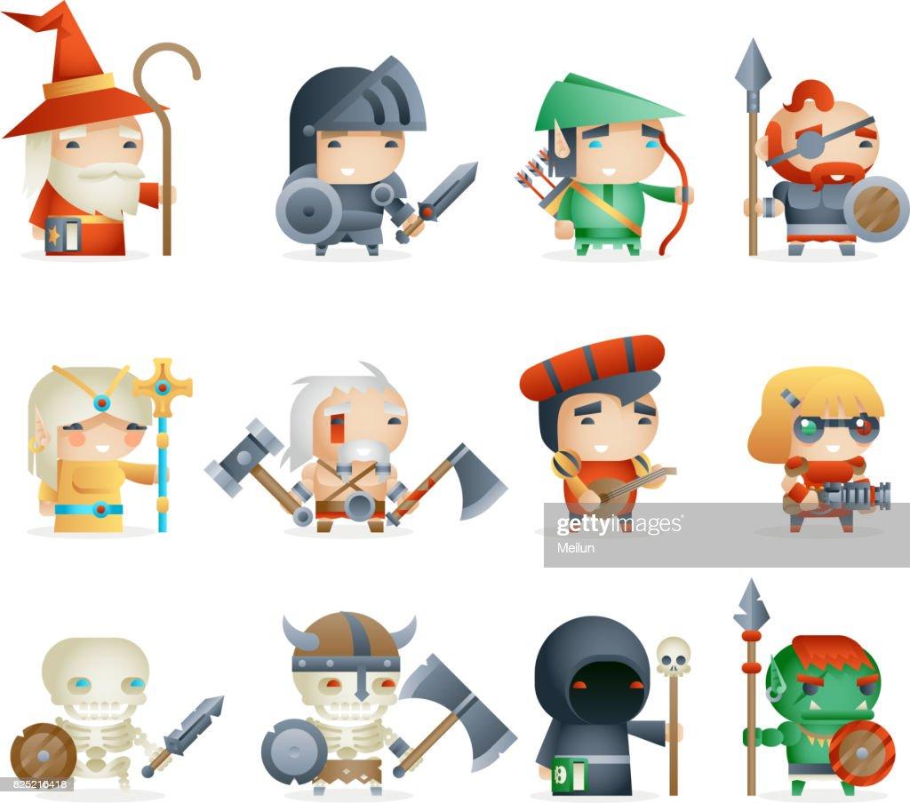 Heroes Villains Minions Fantasy RPG Game Character Vector Icons Set Vector Illustration