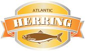 herring seafood label or sticker