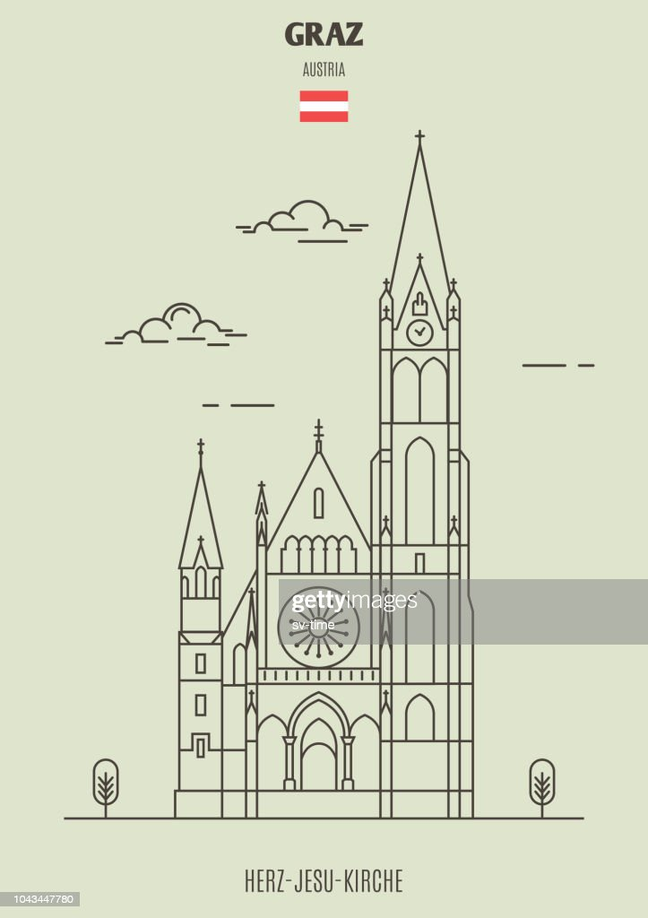Herz-Jesu-Kirche in Graz, Austria. Landmark icon
