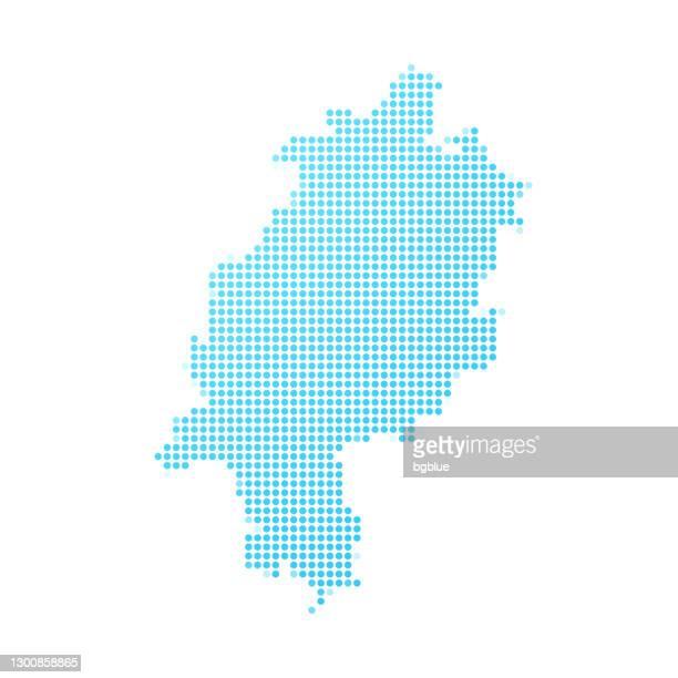 ilustrações, clipart, desenhos animados e ícones de mapa de hesse em pontos azuis no fundo branco - hesse alemanha