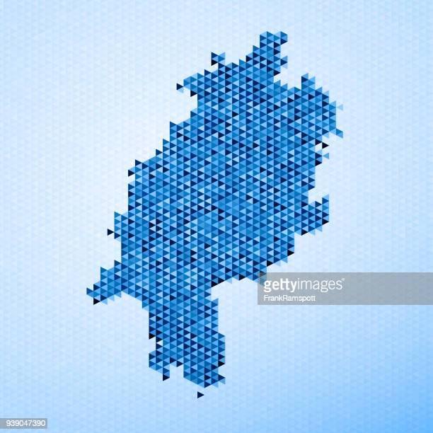 stockillustraties, clipart, cartoons en iconen met hessen kaart driehoek patroon blauw - hesse duitsland