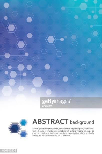 sechseck abstrakte wissenschaft und medizin geometrische hintergrundvorlage - molekül stock-grafiken, -clipart, -cartoons und -symbole