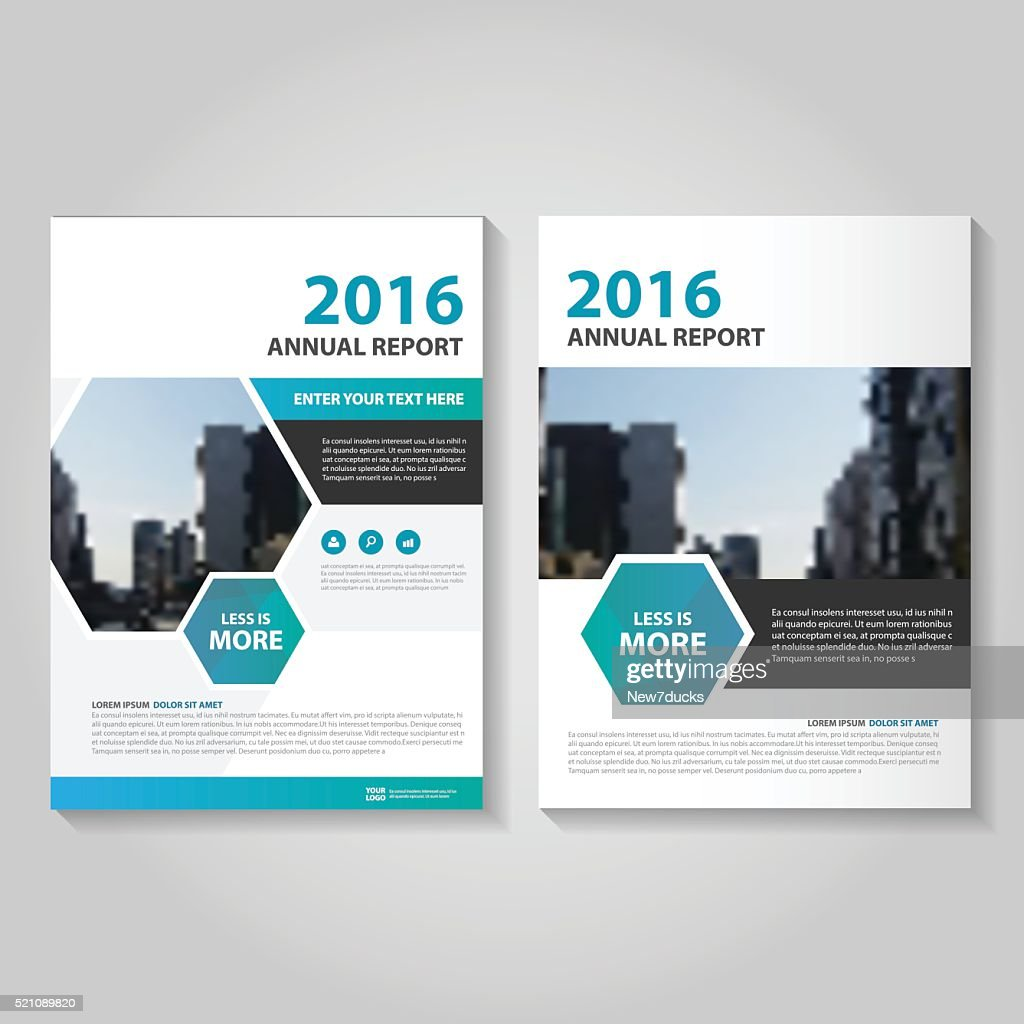 Hexagon Blue green Vector annual report Leaflet Brochure Flyer template