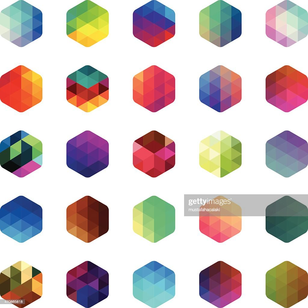 Hexagon colourful mosaic buttons