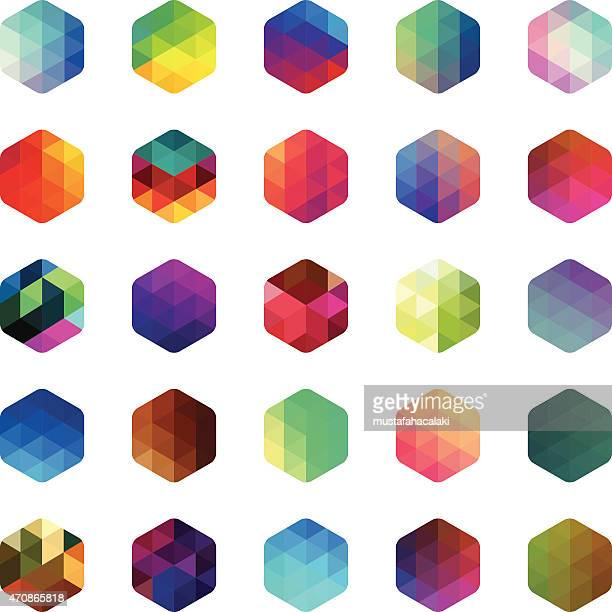 hexagon colourful mosaic buttons - triangle shape stock illustrations