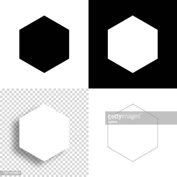sechskant. symbol für design. leere, weiße und schwarze hintergründe - liniensymbol - sechseck stock-grafiken, -clipart, -cartoons und -symbole