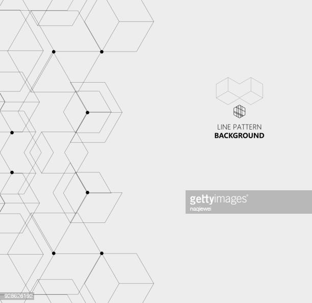 hexagon line structure pattern background