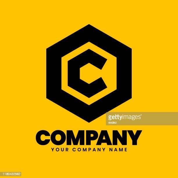 ilustrações de stock, clip art, desenhos animados e ícones de c hexagon logo sign - letrac