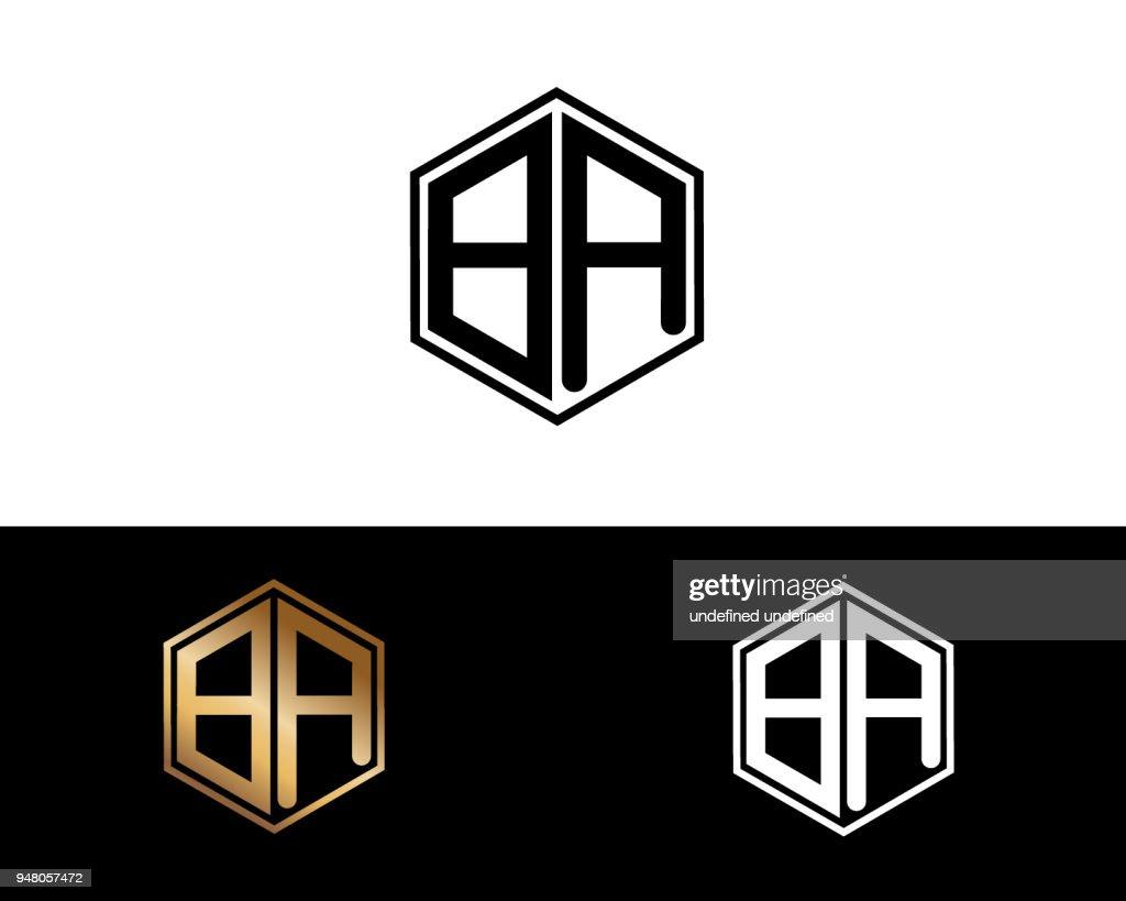 BA hexagon shape Letter Design
