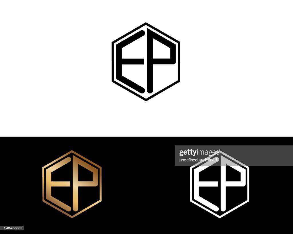 EP hexagon shape Letter Design