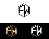 FW hexagon shape Letter Design